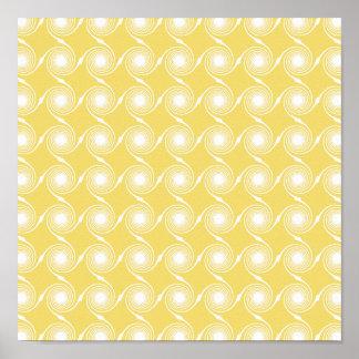 Sunny Yellow and White Swirl Pattern. Custom Poster