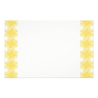 Sunny Yellow and White Swirl Pattern Custom Stationery