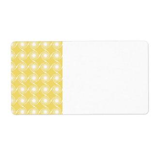 Sunny Yellow and White Swirl Pattern. Label