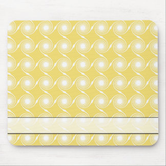 Sunny Yellow and White Swirl Pattern. Mouse Pad