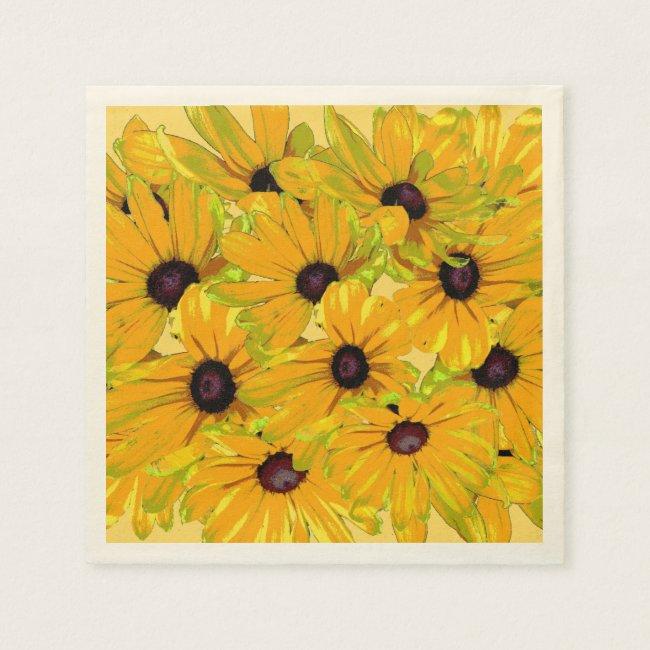 Sunny Yellow Black Eyed Susan Floral Paper Napkins