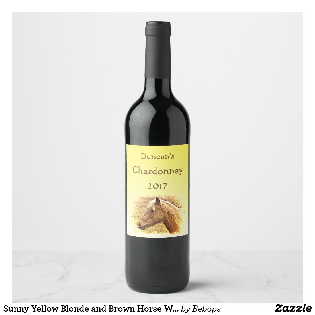 Sunny Yellow Blonde and Brown Horse Wine Label