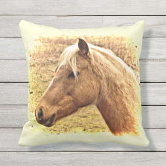 Sunny Yellow Brown Horse Animal Outdoor Pillow