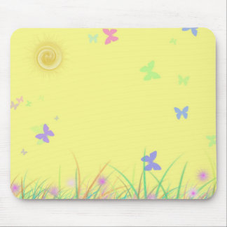 Sunny Yellow Butterfly Background Mousepads