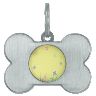 Sunny Yellow Butterfly Background Pet Name Tags