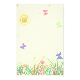 Sunny Yellow Butterfly Background Personalized Stationery