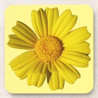 Sunny yellow chamomile beverage coaster