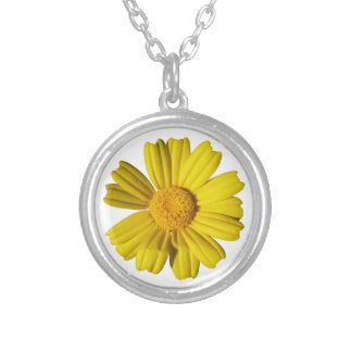 Sunny yellow chamomile silver plated necklace