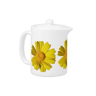 Sunny yellow chamomile teapot