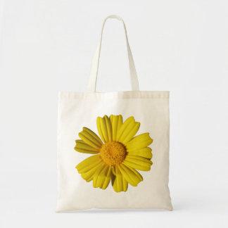 Sunny yellow chamomile tote bag