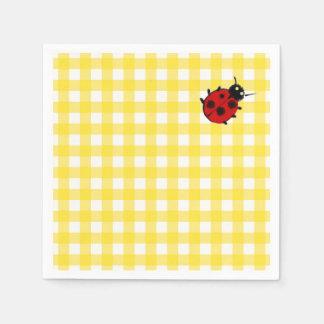 Sunny Yellow Classic Gingham with Ladybug Paper Napkin