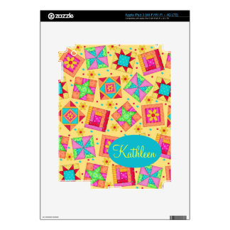 Sunny Yellow Colorful Patchwork Quilt Block Art iPad 3 Skins