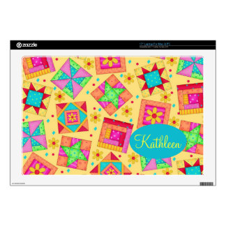 Sunny Yellow Colorful Patchwork Quilt Block Art Laptop Decal