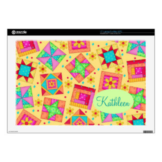 Sunny Yellow Colorful Patchwork Quilt Block Art Laptop Skin
