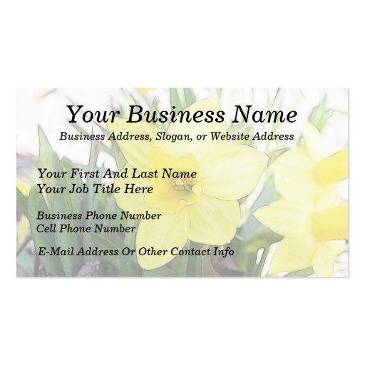 Sunny Yellow Daffodil Business Card Templates