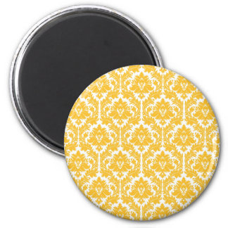 Sunny Yellow Damask Magnet