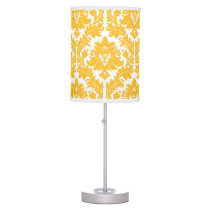 Sunny Yellow Damask Table Lamp