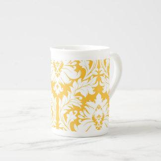 Sunny Yellow Damask Tea Cup