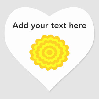 Sunny yellow flower. heart sticker