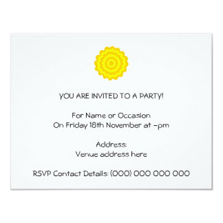 Sunny yellow flower. 4.25x5.5 paper invitation card