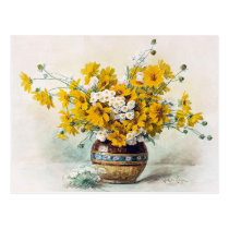 Sunny yellow flowers by Paul de Longpré CC1012 Postcard