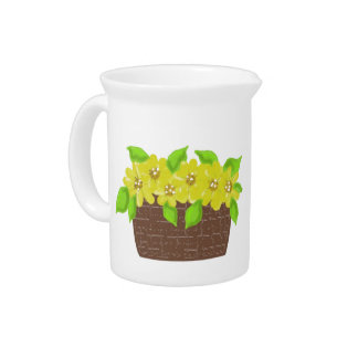 Sunny Yellow Flowers in a Basket Beverage Pitchers