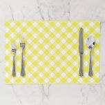 """Sunny Yellow Gingham Paper Placemat<br><div class=""""desc"""">Classic gingham in a bright sunny yellow.</div>"""