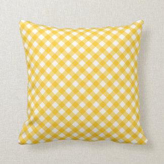 Sunny yellow gingham pattern checkered checkers throw pillows