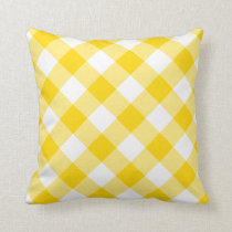 Sunny Yellow Gingham Pattern Throw Pillow