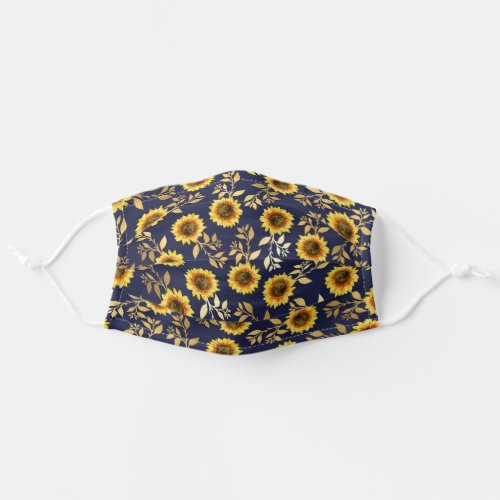 Sunny Yellow Gold Navy Sunflowers Leaves Safety Cloth Face Mask