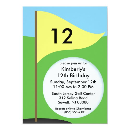 Sunny Yellow Let's Bogie Mini Golf Birthday Party Card