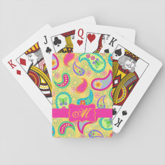 Sunny Yellow Modern Paisley Pattern Monogram Playing Cards