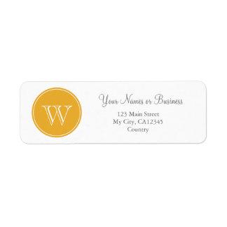 Sunny yellow monogram custom personalized label