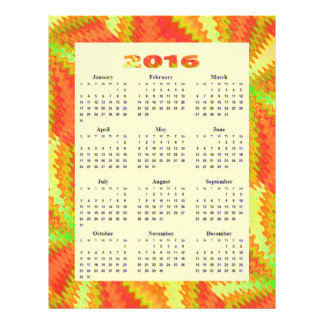 Sunny Yellow Orange Abstract 2016 yearly Calendar Flyer