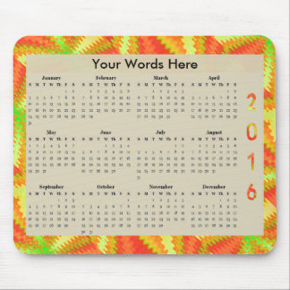 Sunny Yellow Orange Abstract 2016 yearly Calendar Mouse Pad