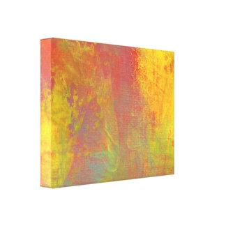 Sunny Yellow Orange Green Rustic Grunge Abstract Canvas Print