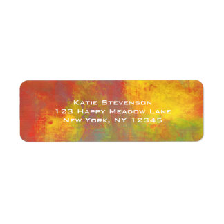 Sunny Yellow Orange Green Rustic Grunge Abstract Label