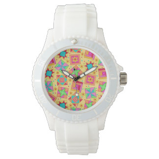 Sunny Yellow Patchwork Quilt Art Blocks Watches
