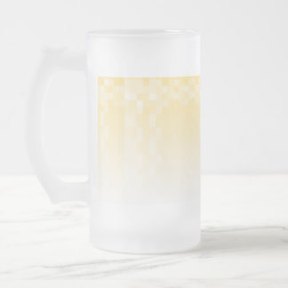 Sunny yellow pattern, squares design. frosted glass beer mug
