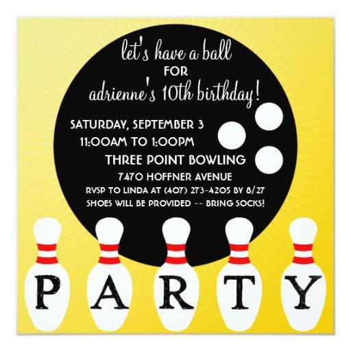 Sunny Yellow Pin Party Bowling Birthday Party Invitation