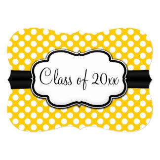Sunny Yellow Polka Dot Graduation/Party 5x7 Paper Invitation Card