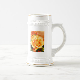 Sunny Yellow Rose in Bouquet Beer Stein