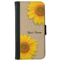 Sunny Yellow Rustic Sunflower Burlap Personalized iPhone 6/6s Wallet Case
