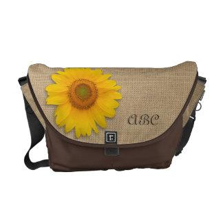 Sunny Yellow Rustic Sunflower Burlap Personalized Messenger Bag