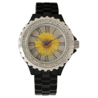 Sunny Yellow Rustic Sunflower Burlap Personalized Wrist Watch