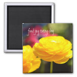Sunny Yellow Spring Flowers 2 Inch Square Magnet