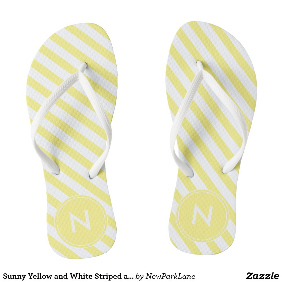 Sunny Yellow Striped Monogrammed Flip Flops Personalized Durable Style Hawaiian Beach Sandals