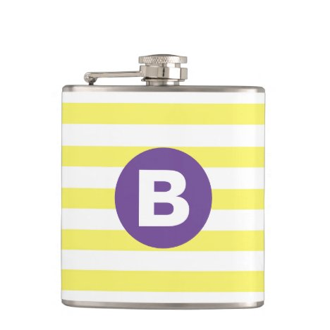Sunny Yellow Striped Purple Monogram Flask