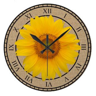 Sunny Yellow Sunflower Rustic Round Wall Clock