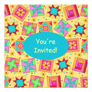 Sunny Yellow & Turquoise Patchwork Quilt Block Art Card